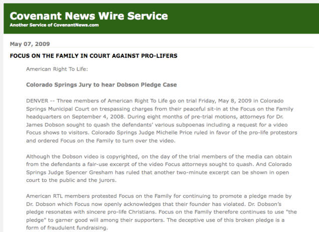 Covenant News on Dobson group