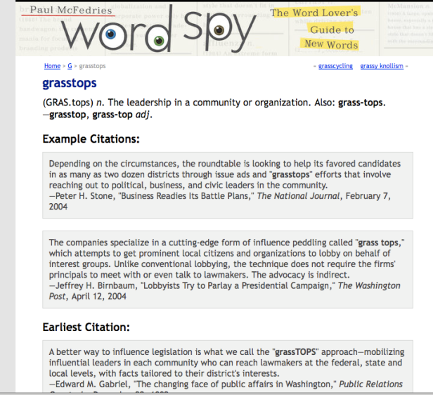 Wordspy - grassroots vs grasstops
