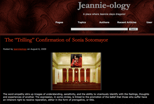 Sotomayor post with Jeannies blog