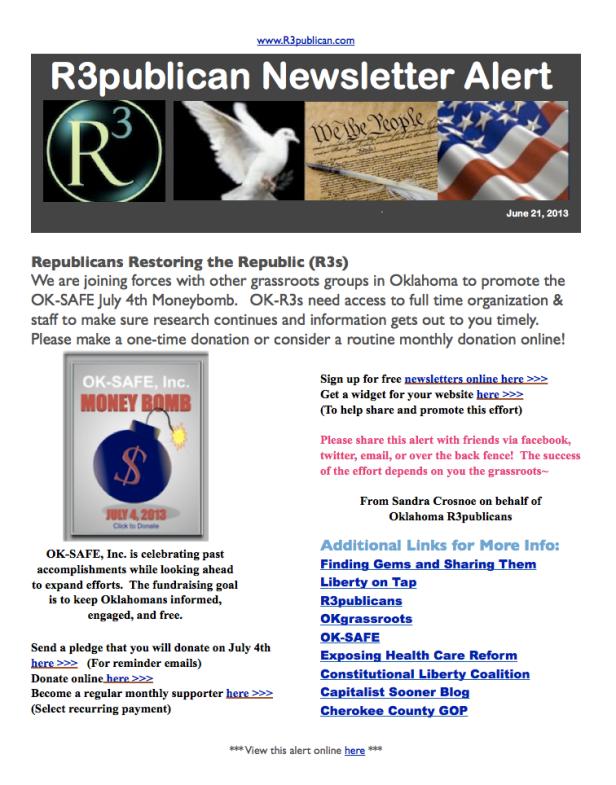 R3publican Newsletter Alert June for OK-SAFE Moneybomb