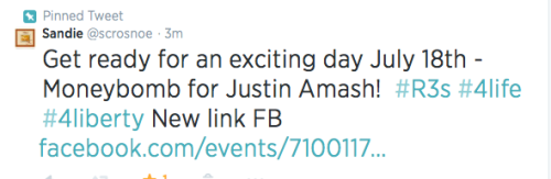 Tweet for Justin Amash Money Bomb - pinned now